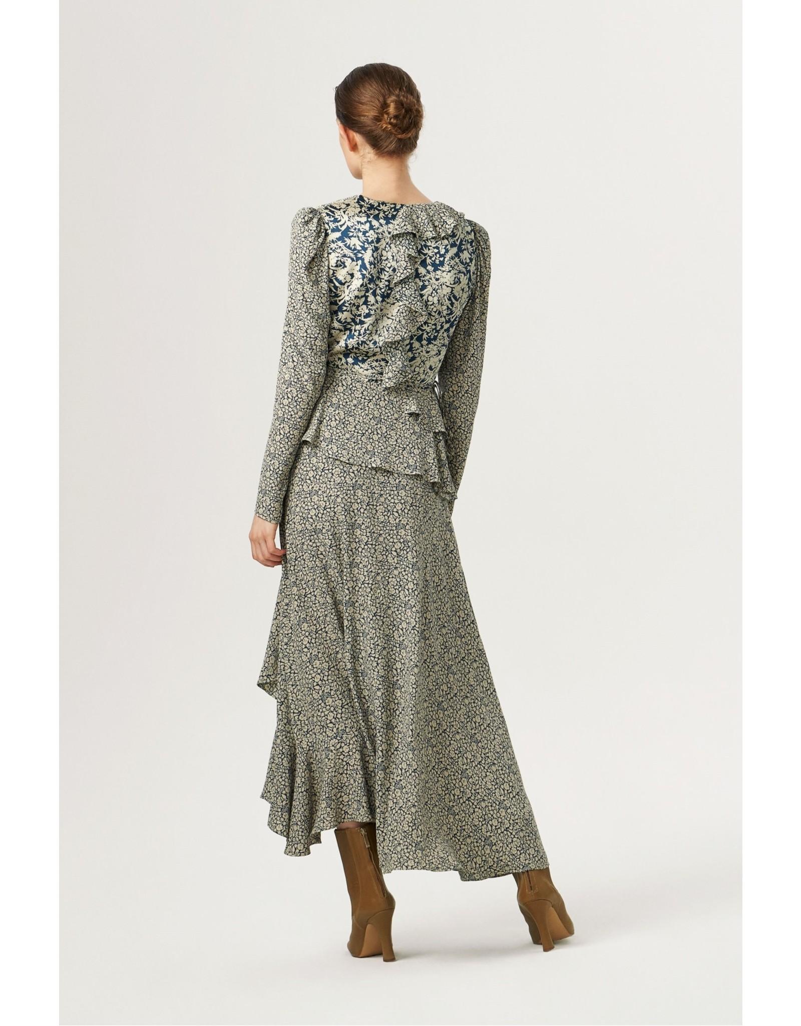 Exquise Ruffled Neck Layered Navy Dress