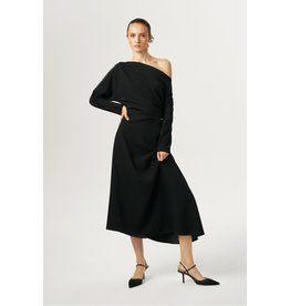 Exquise Black Scoop Neck Sleeved Dress with Bead Detail along the Sleeve.