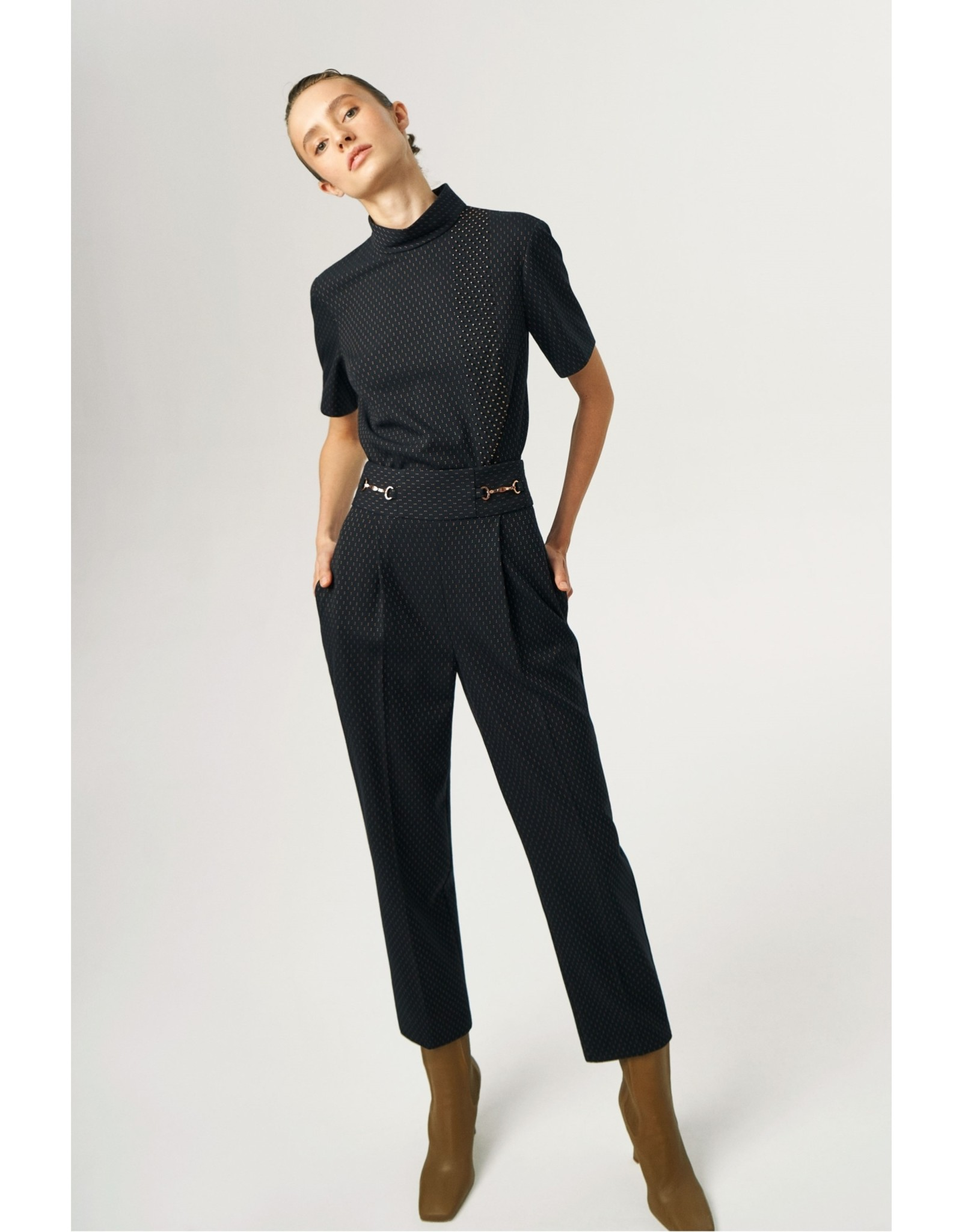 Exquise Navy Wide Leg Trousers with Copper Thread