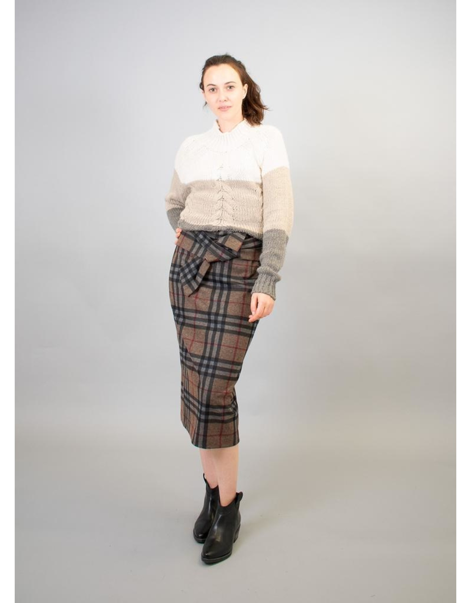 La Fee Maraboutee Check Stretch  Pencil Skirt With Tie Belt
