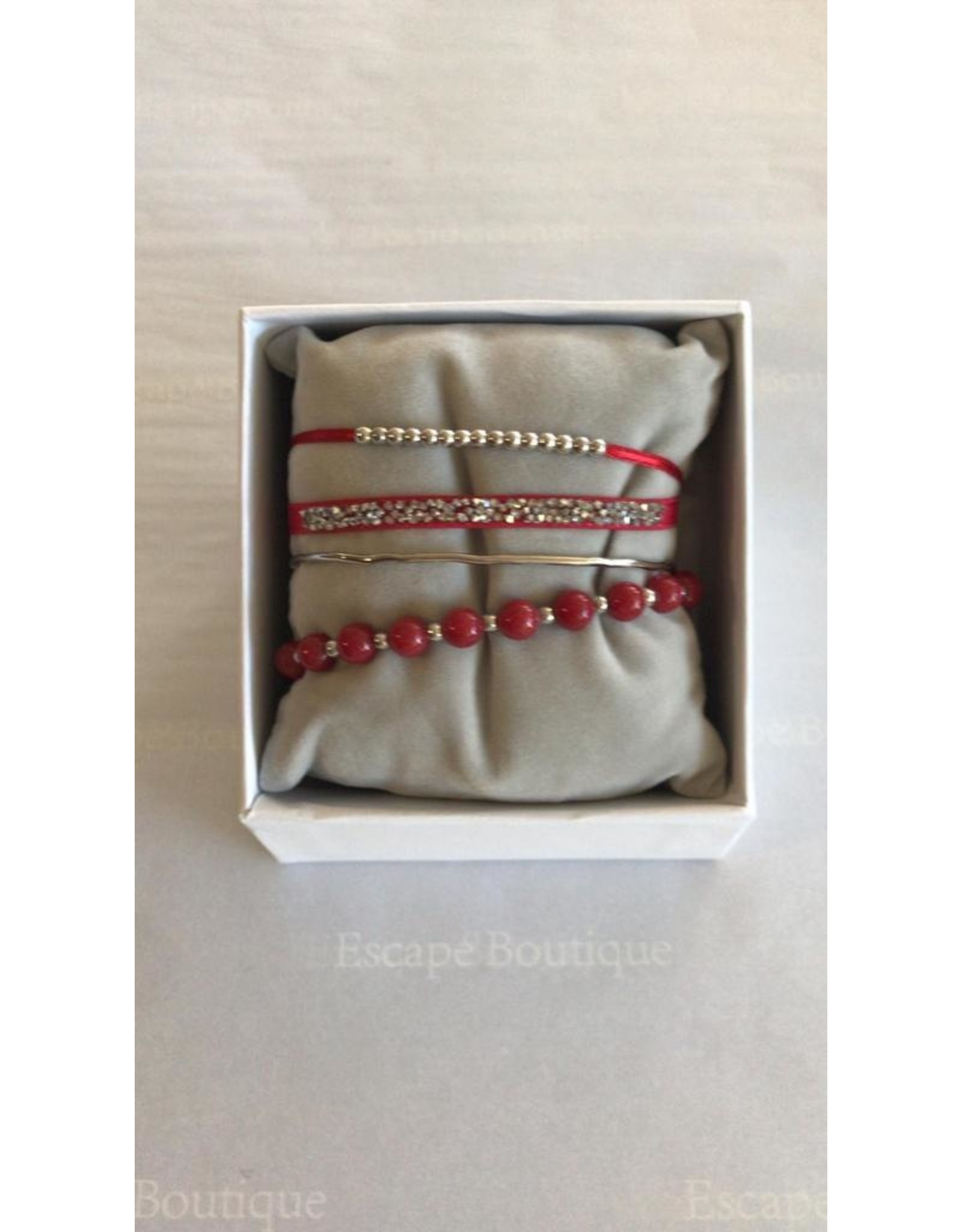 Les Interchangeables Strass Box 4 Way Bracelet Red on Silver