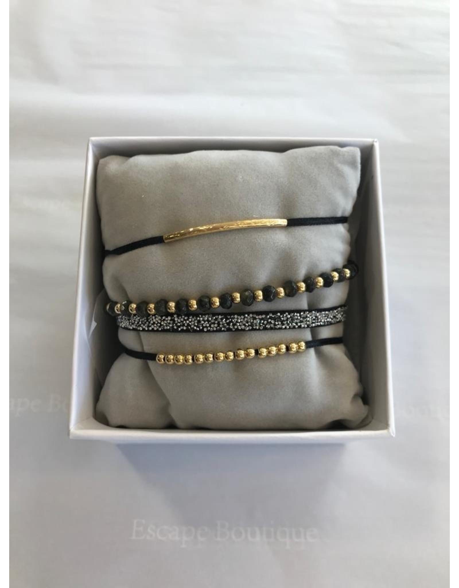 Les Interchangeables Strass Box Malicieuse 4 Bracelets Gold