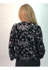 La Fee Maraboutee Long Sleeve Velvet V-Neck Blouse