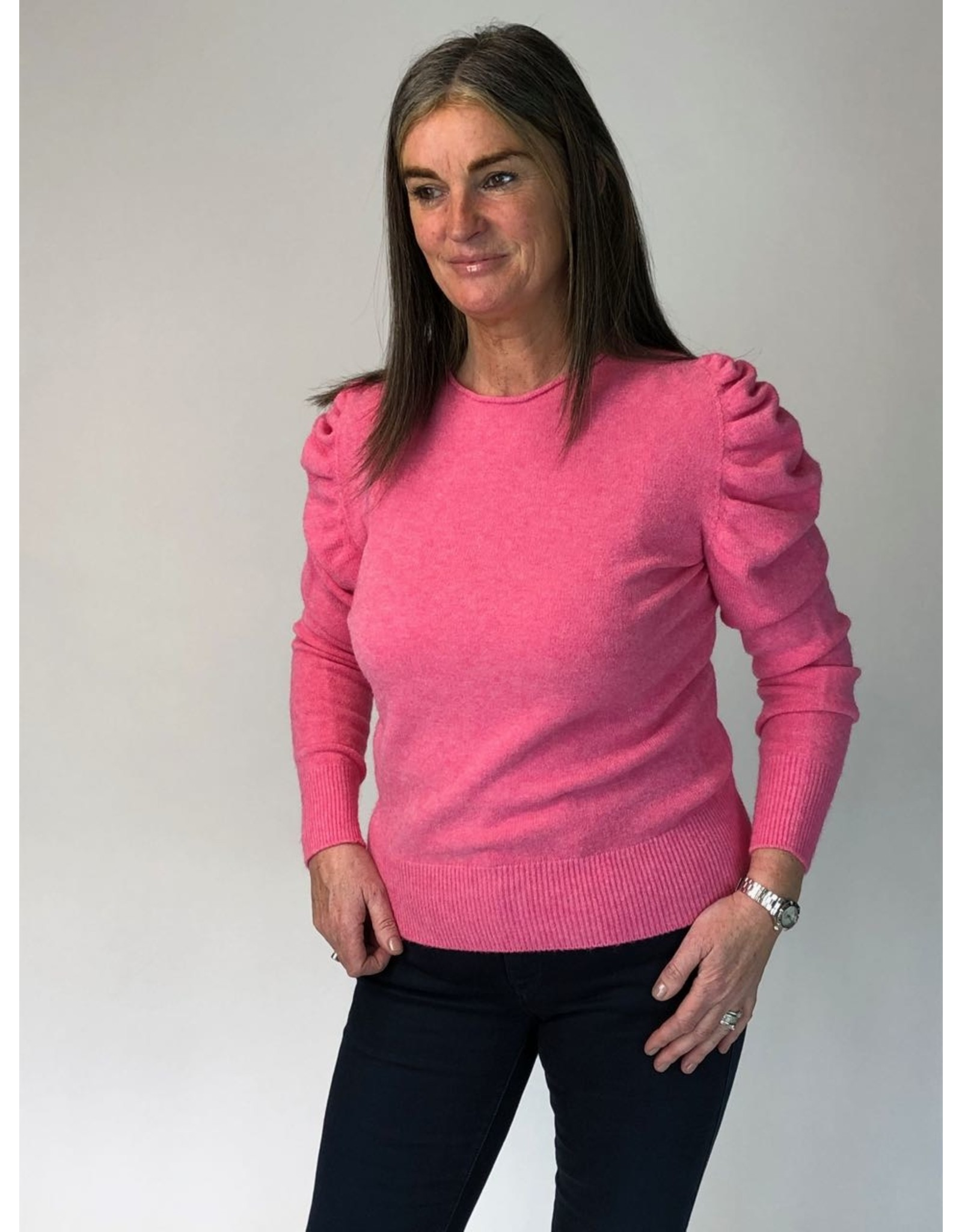 Ruched Sleeve Round Neck Knit