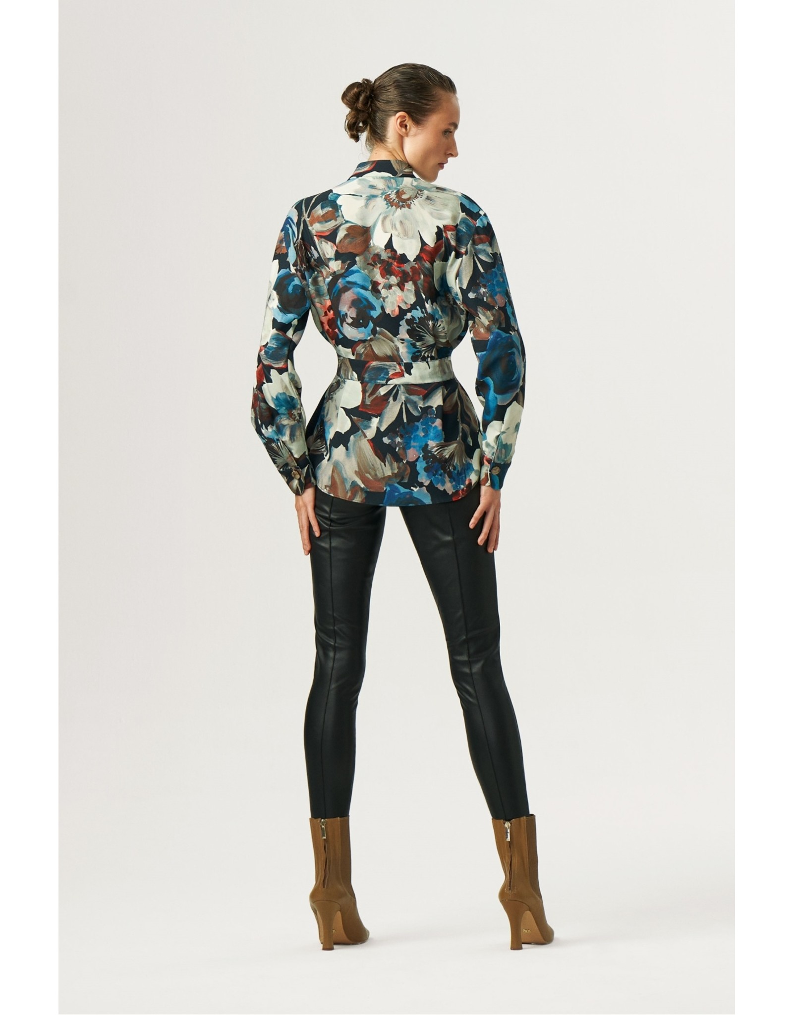 Exquise Exquise - Floral High Neck Belted Blouse