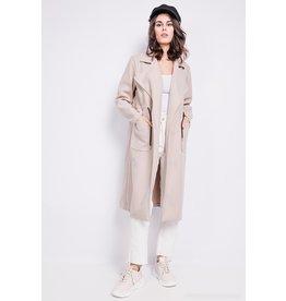 PARIS ES'TYL Coat with drawstring - 65% Wool, 30% Polyester, 5% Elastane