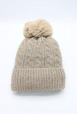 PARIS ES'TYL Chenille Fine Cable Fleece Lined Hat with Detachable Faux Fur Bobble