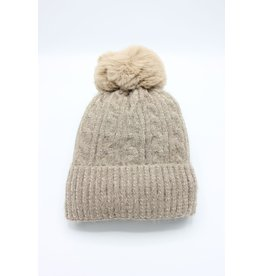 PARIS ES'TYL Chenille Fine Cable Fleece Lined Hat with Detachable Faux Fur Bobble