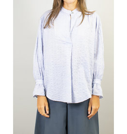 Humility Light Blue Loose Fit Blouse Top with Belted Sleeve Cuff Detail.
