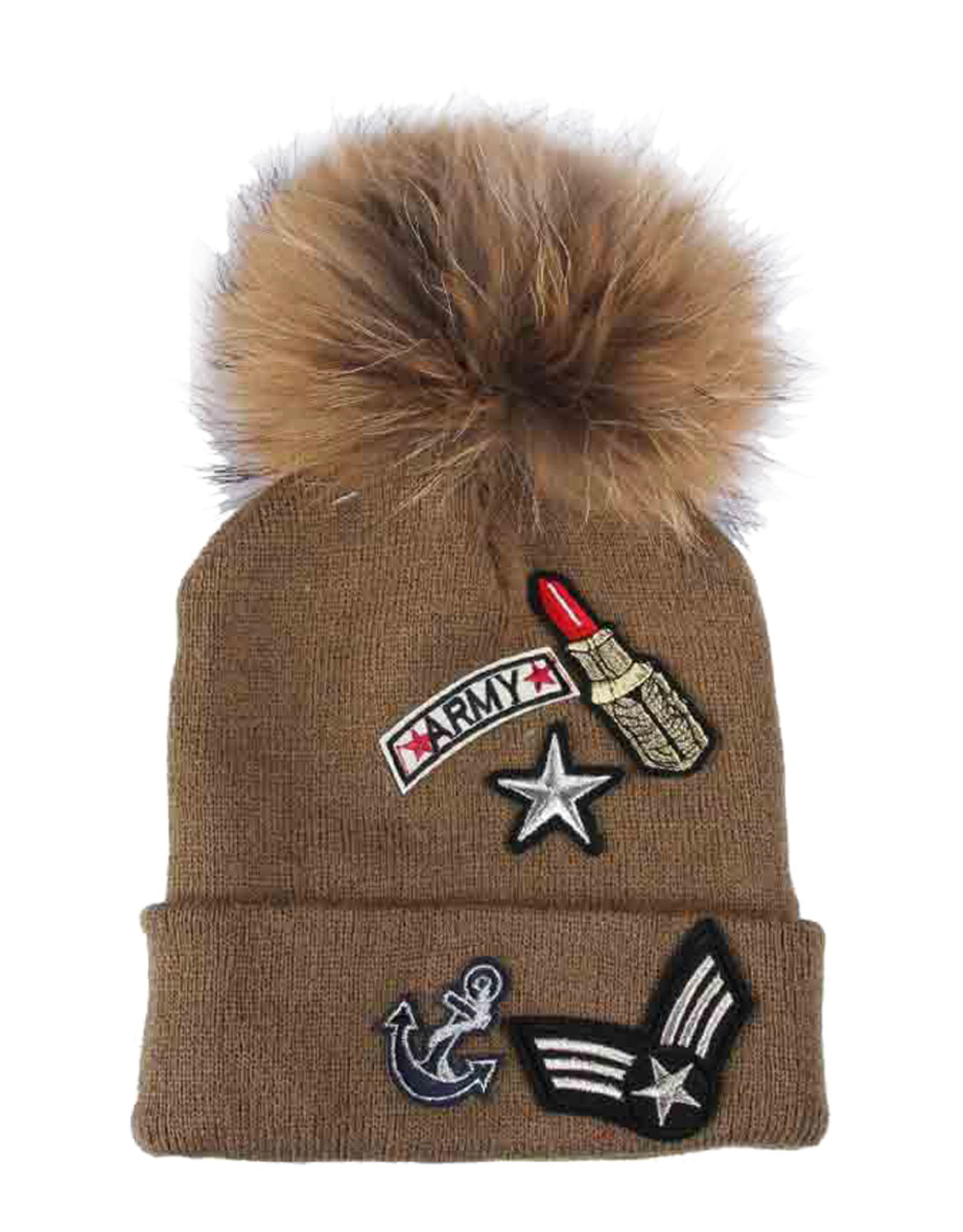 PARIS ES'TYL  Army Lipstick Bobble Hat