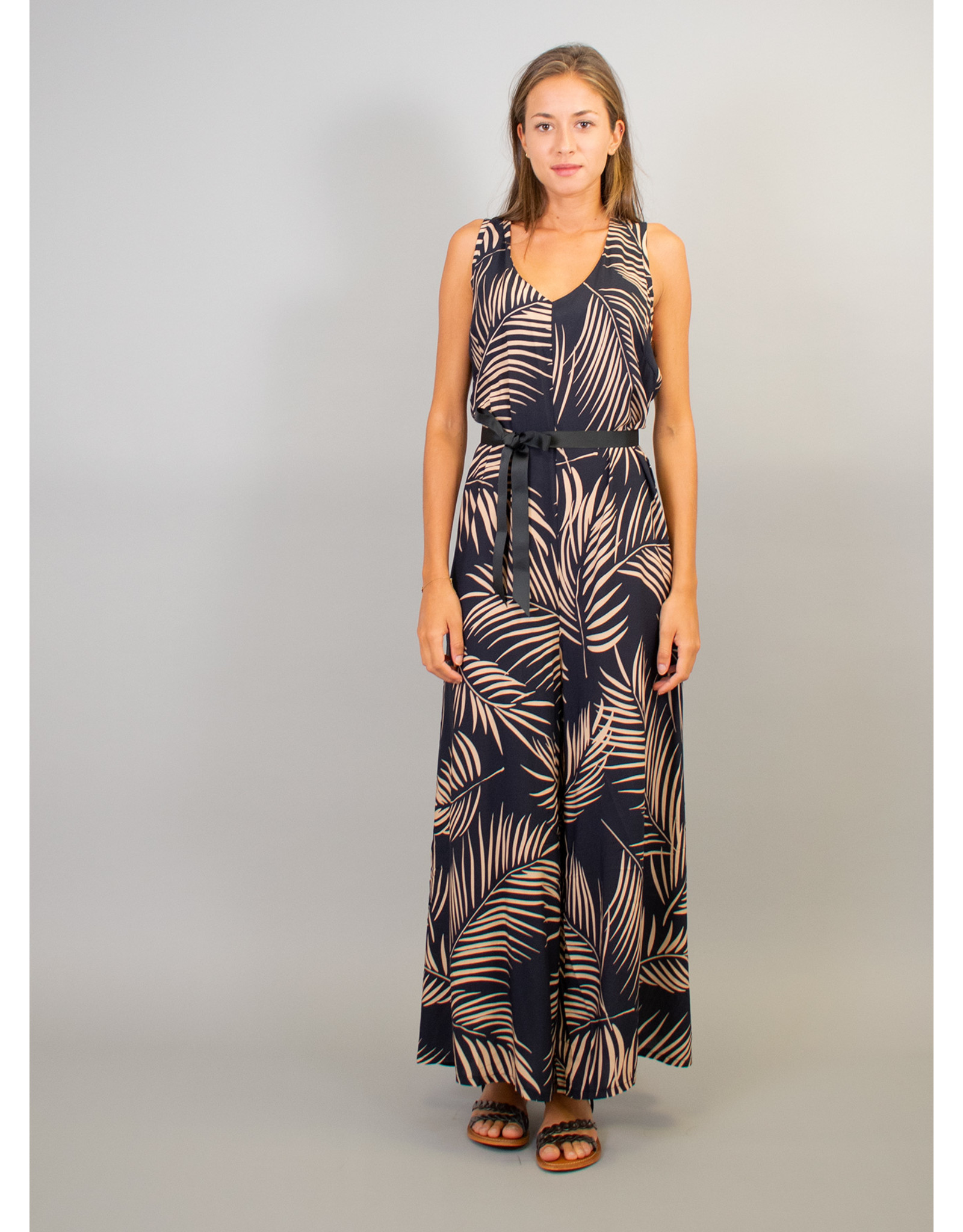 La Fee Maraboutee Palm Print Long Sleeveless Jumpsuit