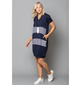 Peruzzi Jersey Stripe Short Sleeve Layered Dress