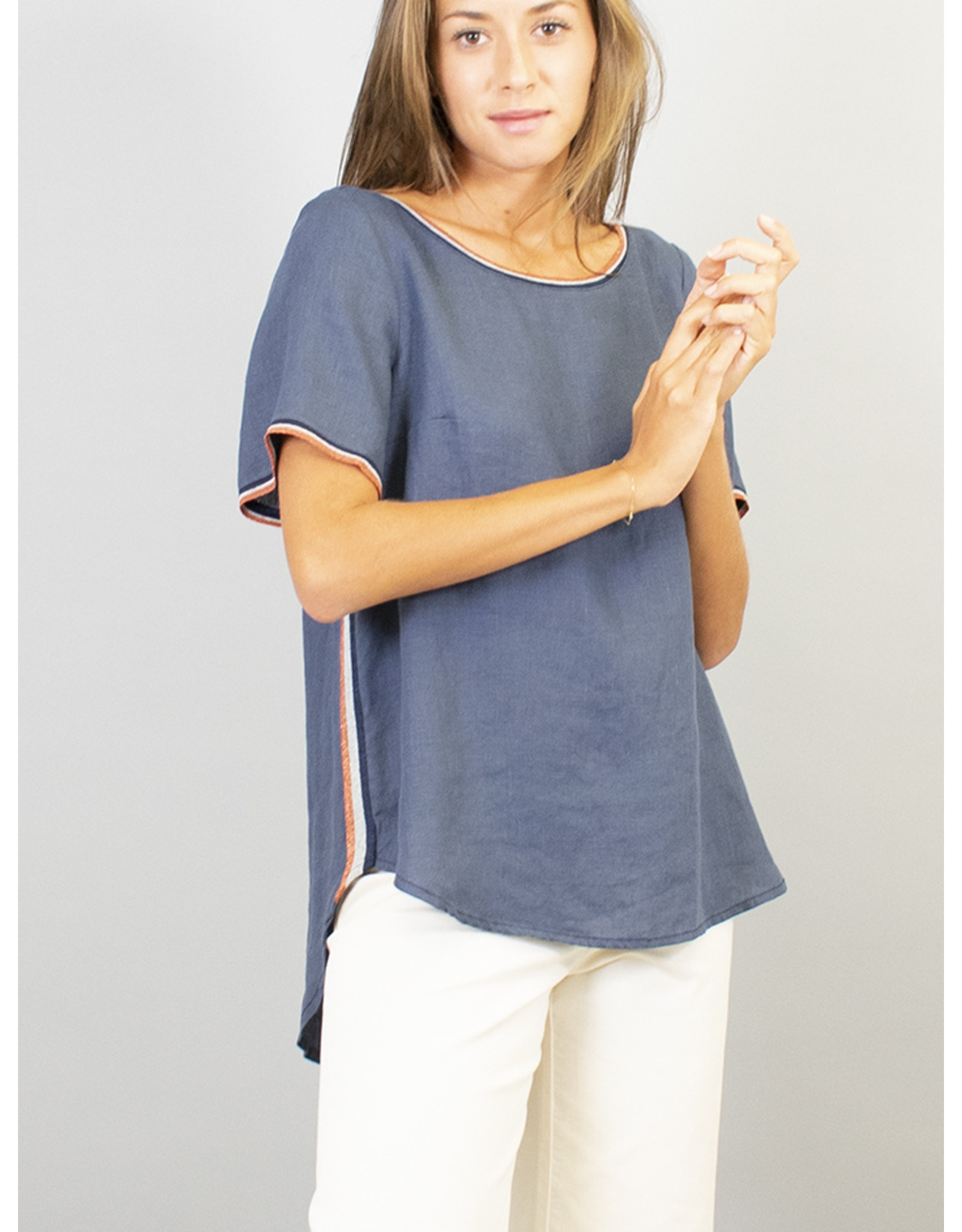 La Fee Maraboutee Linen T Top with Sport Trim Finish