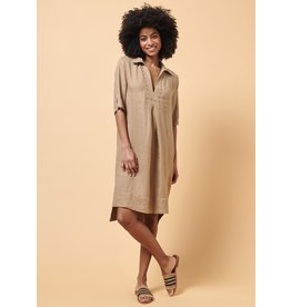 La Fee Maraboutee Short Sleeve Collar Dress with Dropped Hem