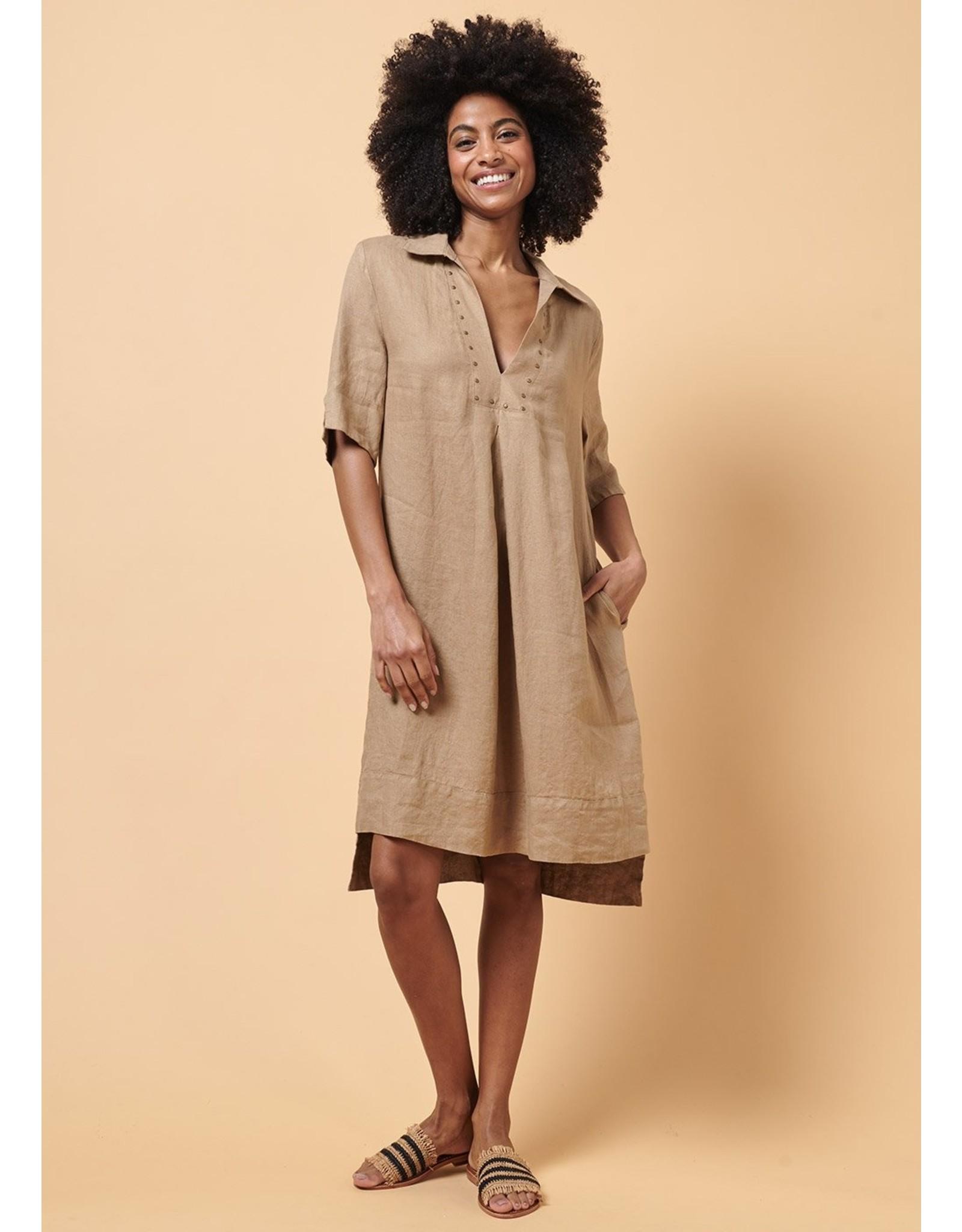La Fee Maraboutee Short Sleeve Collar Dress with Dropped Hem