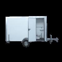 Werfwagen - type 5 - 3,85 x 1,90 x 2,10m - met banken, toilet en kipraam