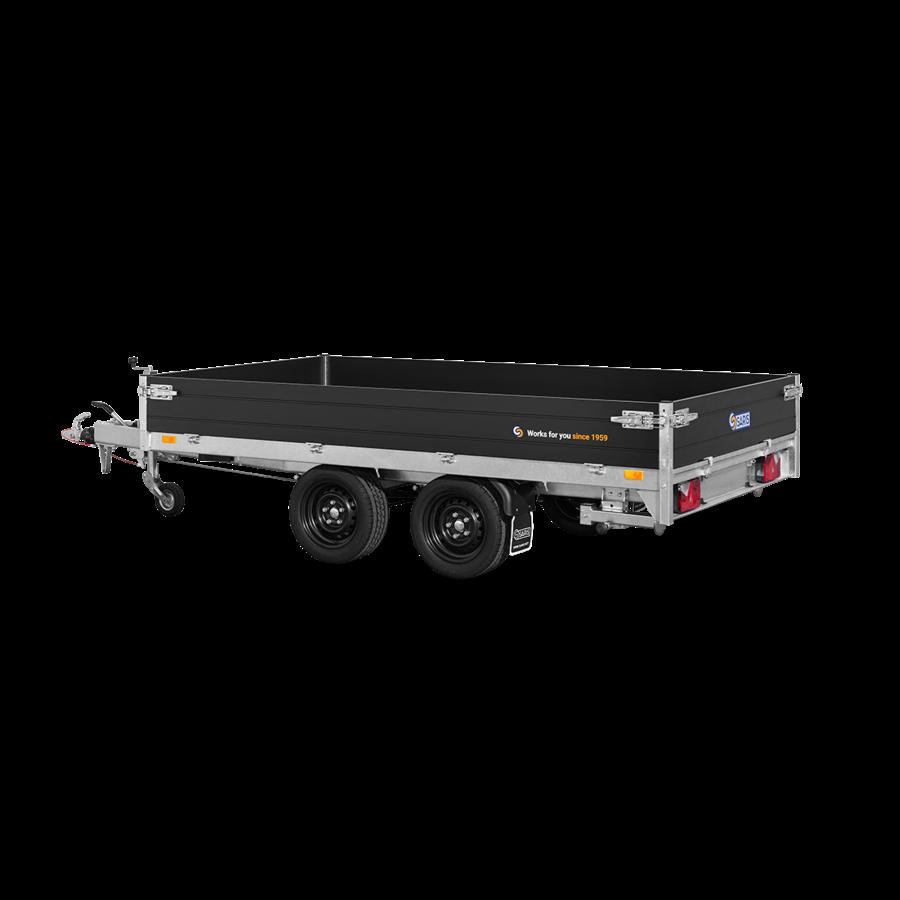 Plateau aanhangwagen - L 4,06 m - 2.849 kg laadvermogen