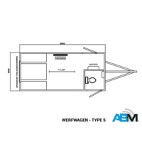 Werfwagen - type 5 - 3,60 x 1,90 x 2,10m - met banken, toilet en kipraam