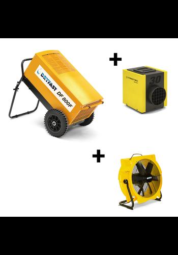 Dryfast Voordeelpakket: bouwdroger DF800F + ventilator TTV4500 + elektrische kachel TEH30T