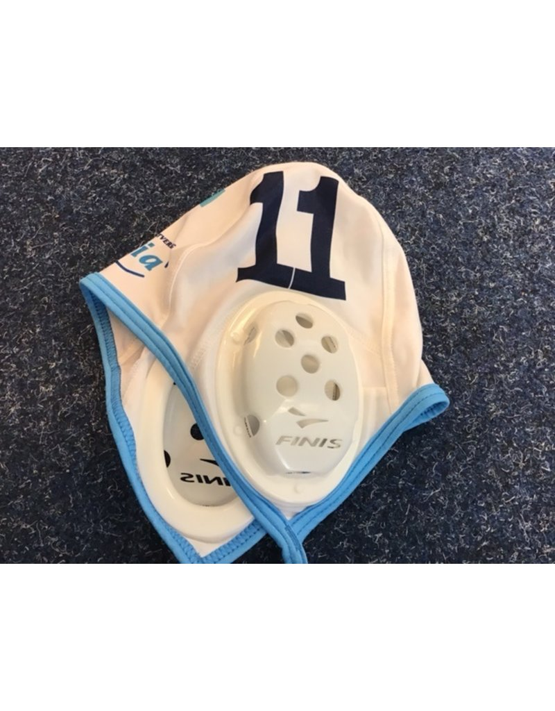Force TriVia waterpolocap - wit - nummer 11