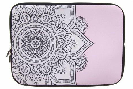Universele zwart mandala design sleeve 15 inch