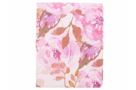 360° Draaibare Design Bookcase voor iPad 2 / 3 / 4 - Bloemen Roze