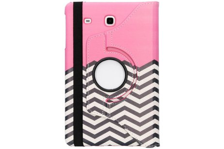 Samsung Galaxy Tab E 9.6 hoesje - 360° draaibare roze chevron