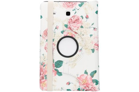 Samsung Galaxy Tab E 9.6 hoesje - 360° draaibare rozen design