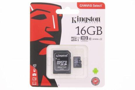 Kingston 16GB microSDHC 1 geheugenkaart klasse 10 + adapter