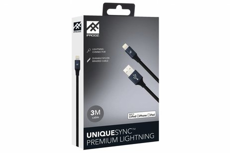 iFrogz Zwarte Unique Sync™ Premium Lightning naar USB kabel - 3 meter