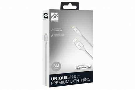 iFrogz Zilveren Unique Sync™ Premium Lightning naar USB kabel - 3 meter