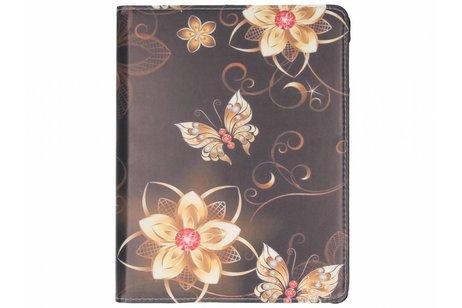 360° Draaibare Design Bookcase voor iPad 2 / 3 / 4 - Bloemen Goud
