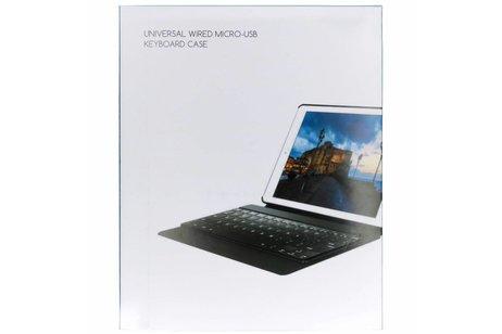 Zwarte universele booktype hoes met toetsenbord 9 -10.1 inch