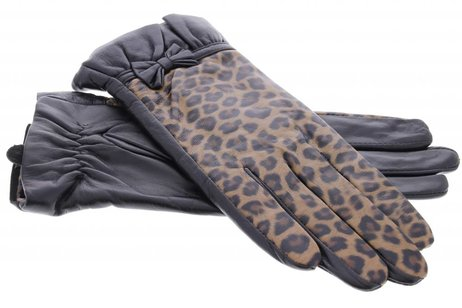 iMoshion Zwarte echt lederen touchscreen handschoenen met panterprint - maat M