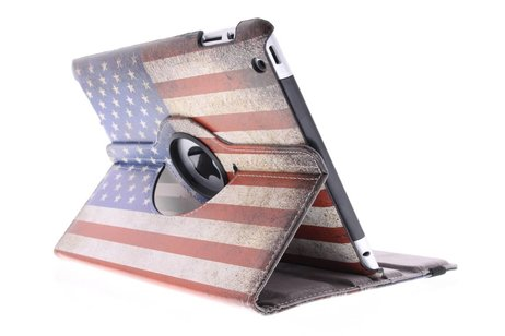 360° Draaibare Design Bookcase voor iPad 2 / 3 / 4 - Amerikaanse Vlag