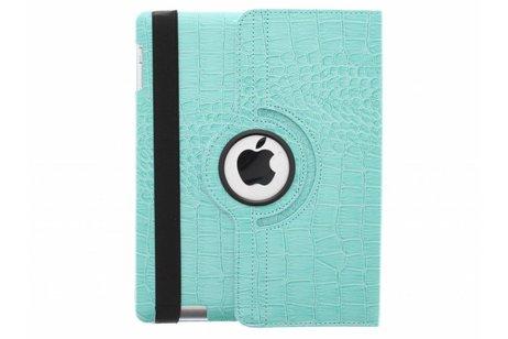 360° Draaibare krokodil Bookcase voor iPad 2 / 3 / 4 - Turquoise