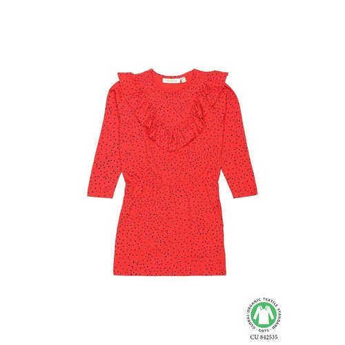 Soft Gallery Bea Dress Mini Dots Mars Red jurk