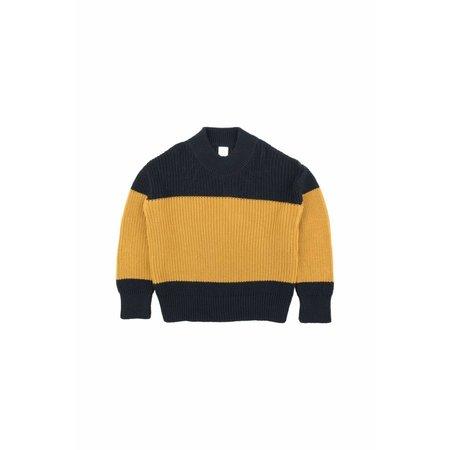 Tinycottons Color-Block Sweater Navy/Mustard trui
