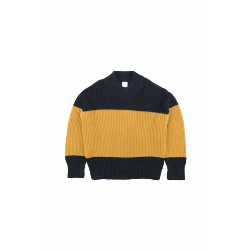Tinycottons Color-Block Sweater Navy/Mustard trui