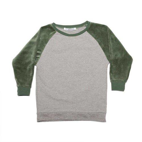 MINGO Velvet Sweater Grey/Duck green