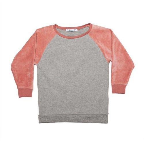 MINGO Velvet Sweater Grey/Raspberry trui