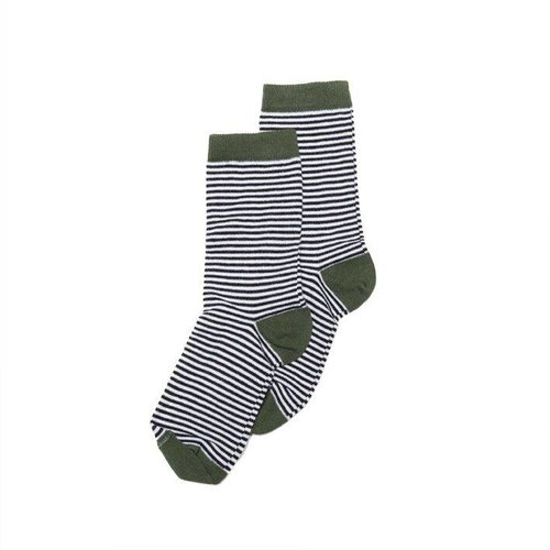MINGO Socks Striped b/w Duck Green sokken