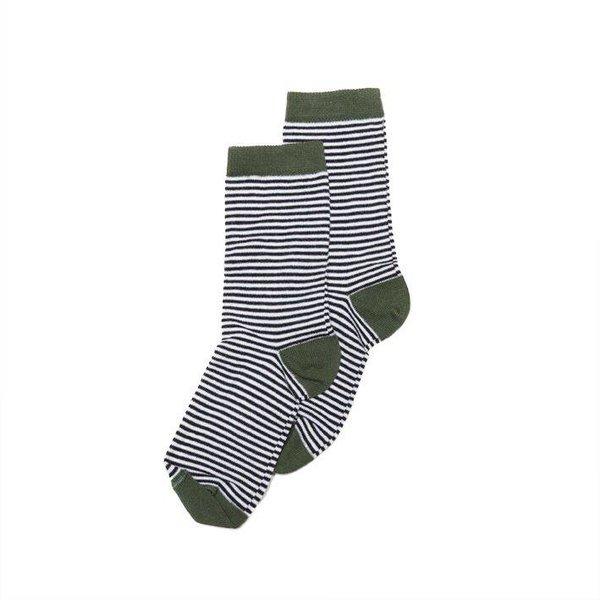 Socks Striped b/w Duck Green