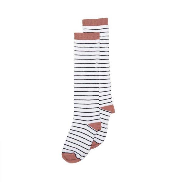 Knee Socks b/w Raspberry