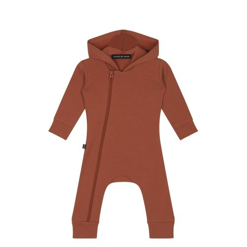 House of Jamie Hoody Zip Jumpsuit Rust