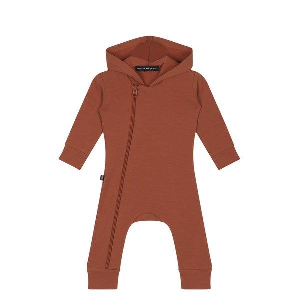 Hoody Zip Jumpsuit Rust