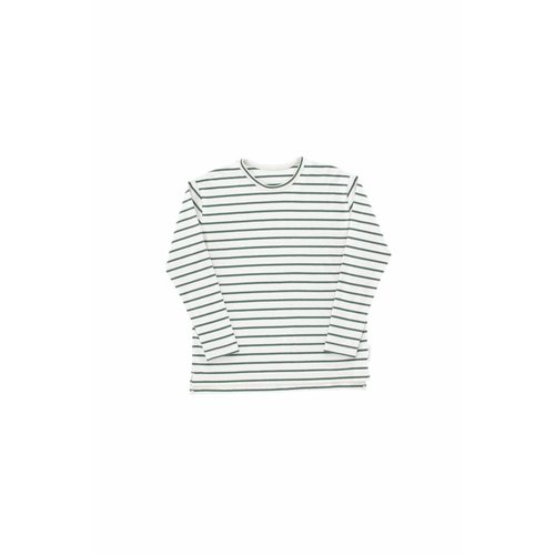 Tinycottons Small Stripes LS Relaxed tee light grey/dark green