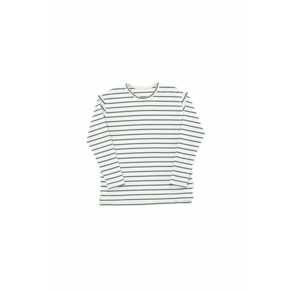 Small Stripes LS Relaxed tee light grey/dark green
