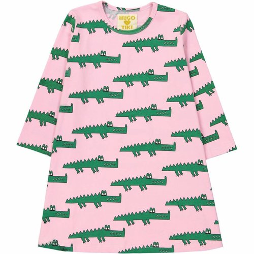 Hugo Loves Tiki Swing Dress Pink Crocodiles jurk