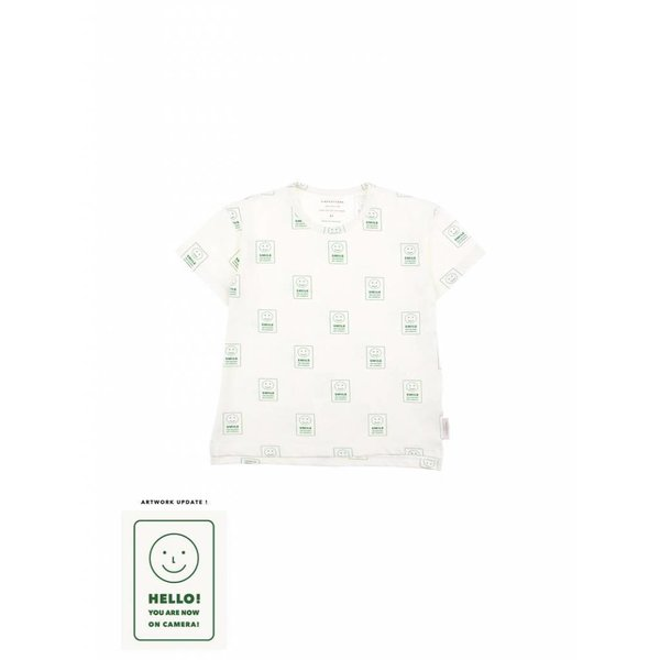 Hello SS Tee off-white/deep green - t shirt